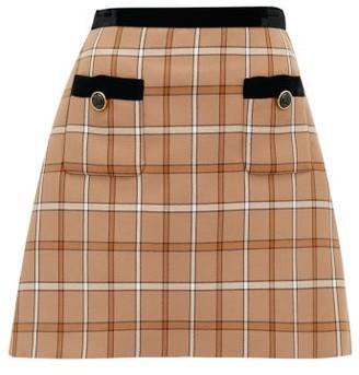 Miu Miu High-rise Velvet & Checked Twill Mini Skirt - Womens - Brown Multi