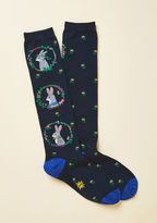 F0371 Pals are certain to beckon you to draw near so that they may get a better look at these navy blue knee socks! Your arrival in their proximity reveals the flower-framed portraits of rabbits in blossom crowns, neckerchiefs, and bow ties atop this quirky pai