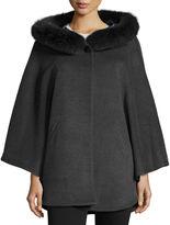 Sofia Cashmere Fur-Trim Hooded Capelet