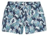 River Island MensNavy patterned swim trunks