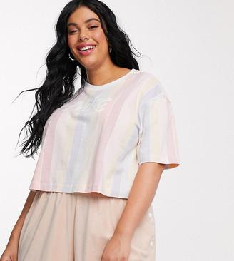 Nike Plus rainbow stripe retro logo crop t-shirt