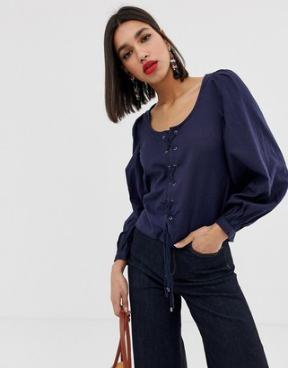 Vero Moda square neck volume sleeve blouse-Navy
