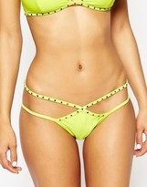 Asos Stud Embellished Strappy Cut Out Bikini Bottom