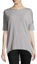 Neiman Marcus Lace-Back Half-Sleeve Tunic, Gray