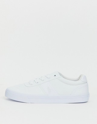 Polo Ralph Lauren canvas hanford trainers in white with tonal player logo