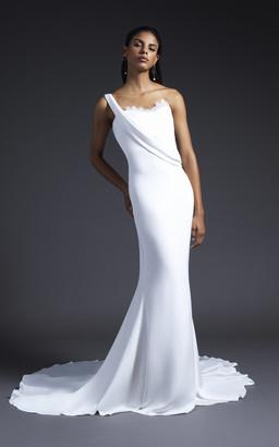 Cushnie Bridal Georgia One-Shoulder Lace-Trimmed Silk-Crepe Gown
