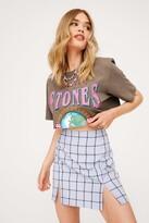 Thumbnail for your product : Nasty Gal Womens Check Print Split Hem Mini Skirt - Blue - 4