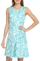Tahari Petite Women's Asymmetrical Jacquard Fit & Flare Dress