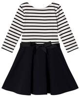 Ralph Lauren White and Navy Stripe and Navy Skirt Solid Dress