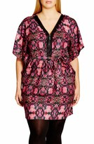 City Chic 'Tile Trim' Print Belted V-Neck Tunic (Plus Size)