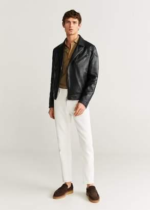 MANGO MAN - Lapels nappa biker jacket black - XS - Men