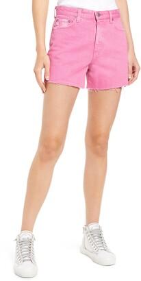Alexxis Distressed High Waist Cutoff Denim Shorts