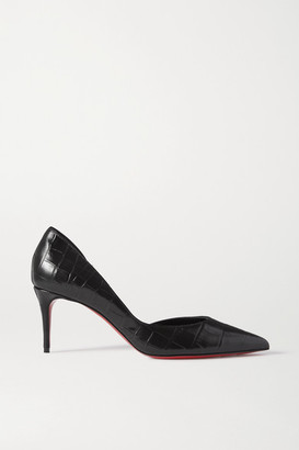 Christian Louboutin Iriza 70 Croc-effect Leather Pumps - Black