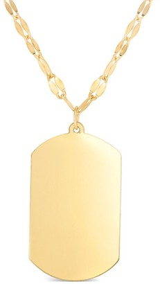 Italian Gold Trend 14K Dog Tag Necklace