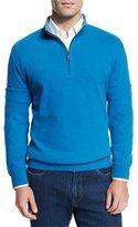 Peter Millar Melange Fleece Quarter-Zip Sweater, Hawaiian Blue