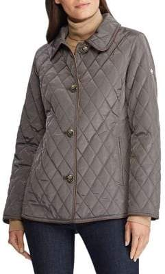 Lauren Ralph Lauren Straight-Fit Faux Leather-Trimmed Quilted Jacket