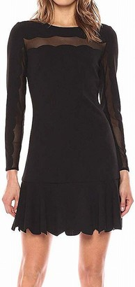Bebe Women's Long Sleeve Dress with Flounce Skirt and Scallop Detailing