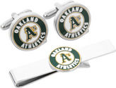 Cufflinks Inc. Men's Oakland A's Cufflinks and Tie Bar Gift Set