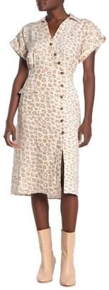 Joie Coady Leopard Print Button Linen Dress