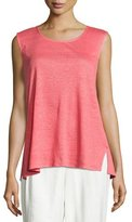 Caroline Rose Linen Knit Tunic, Coral, Plus Size