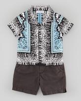 Dolce & Gabbana Centurion-Printed Poplin Shirt, Blue Multi