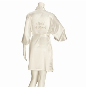 Lillian Rose Ivory Satin Maid of Honor Robe, Online Only