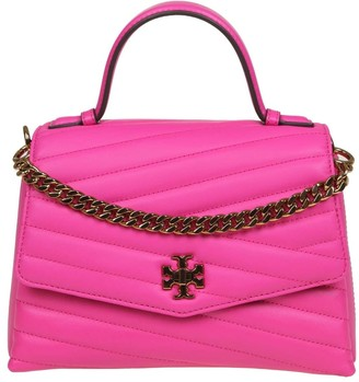Tory Burch Kira Chevron Hand Bag Top-handle Satchel Leather Color Fuchsia