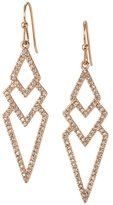 Line & Dot Dot & Line rose gold crystal pave hollow triangle dangle earrings