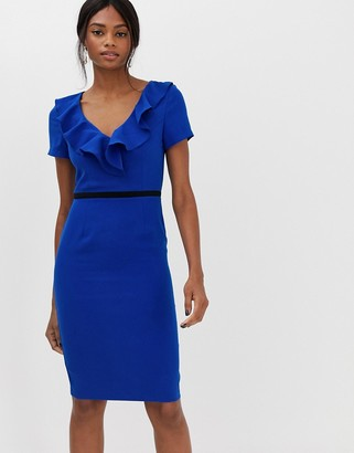 Paper Dolls capped sleeve pencil dress with frill detail-Blue