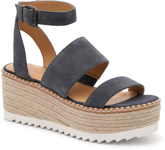 Crown Vintage Women's Daylen Espadrille Wedges Sandals Black Size 5 Suede / textured leather upper From Sole Society