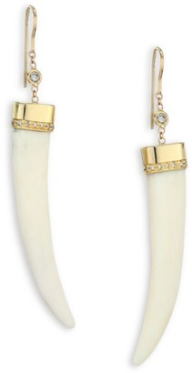 Jacquie Aiche Bone, Diamond & 14K Yellow Gold Horn Drop Earrings