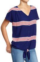 Old Navy Women's Striped Sharkbite-Hem Shirts