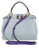 Fendi 'Mini Peekaboo' Colorblock Leather Bag - Beige