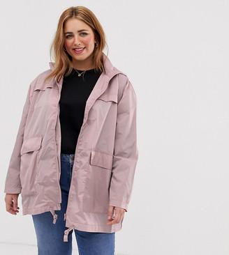 Asos DESIGN Curve rain jacket-Pink