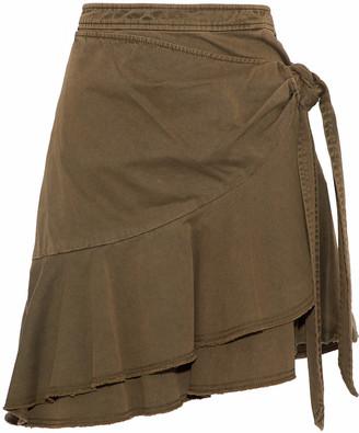Cinq à Sept Anson Wrap-effect Ruffled Cotton-twill Mini Skirt