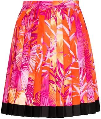 Versace Tropical Print Pleated Mini Skirt
