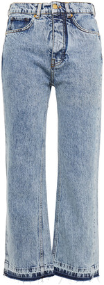 Victoria Victoria Beckham Cropped Frayed High-rise Straight-leg Jeans