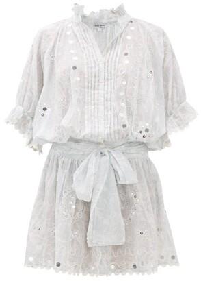 Juliet Dunn Sequinned Printed Cotton Shirtdress - Womens - White Multi