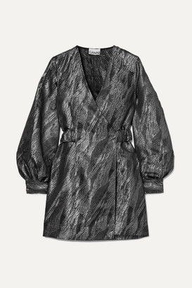 Ganni Metallic Jacquard Wrap Mini Dress