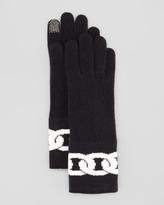 Diane von Furstenberg Dollie Chain Link Tech Gloves, Black/Snow White
