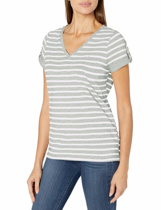 Nautica Women's Easy Comfort V-Neck Striped Supersoft Stretch Cotton T-Shirt