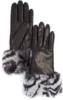 Bloomingdale's Cashmere-Lined Zebra Print Rabbit Fur Gloves