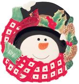 Fitz & Floyd Holly Berry Snowman Canape Plate