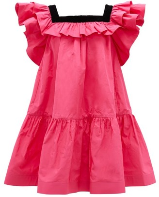 Marc Jacobs Runway - Velvet-trimmed Ruffles Taffeta Mini Dress - Womens - Pink