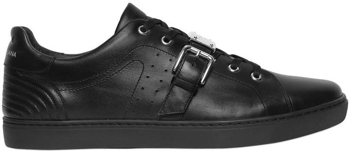 Dolce & Gabbana London Plaque Leather Sneakers