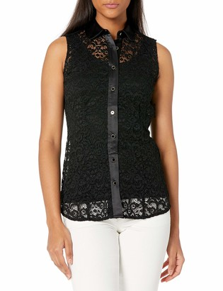 Anne Klein Women's Corded LACE Sleeveless Button Front Blouse