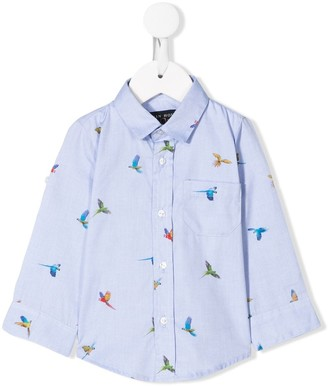 Lapin House Bird Print Curved Hem Shirt
