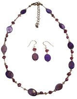 Chic-Net Jewellery: Necklace Earrings in purple beads and oval mother of pearl shell pieces
