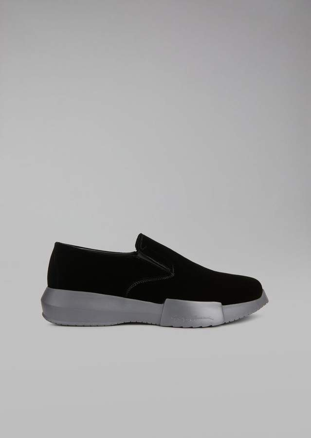 Giorgio Armani Velvet Loafers With Elasticated Inserts And Oversize Sole