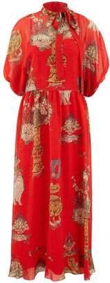 RED Valentino Printed silk dress